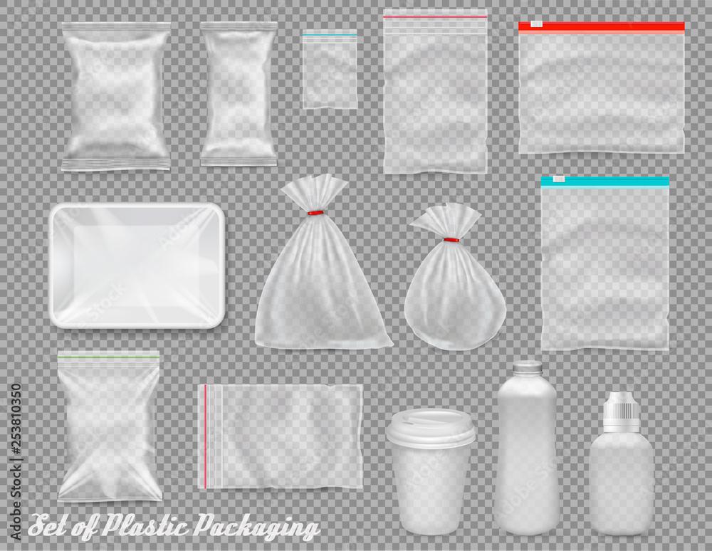 Fototapeta Big set of polypropylene plastic packaging - sacks, tray, cup on transparent background. Vector illustration