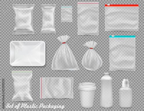 Obraz Big set of polypropylene plastic packaging - sacks, tray, cup on transparent background. Vector illustration - fototapety do salonu