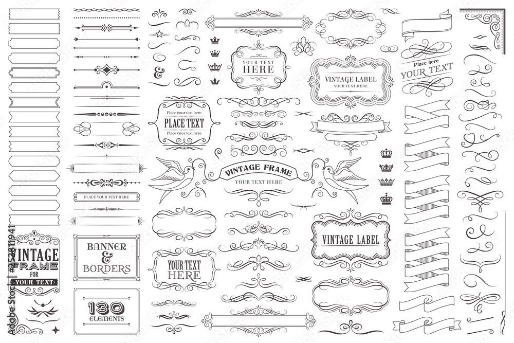 Fototapeta Huge collection or set of vector decorative elements for design