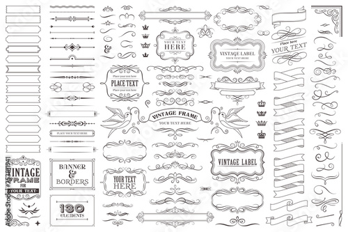 Fototapeta Huge collection or set of vector decorative elements for design obraz