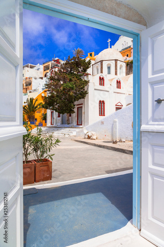 Streetes of Santorini island. Architectural details. Greece