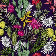 FototapetaTropical pattern with cactuses, exotic flowers and palm leaves. Hand drawn vector on dark purple background.