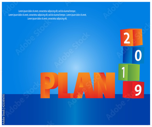 Fototapety, obrazy: Plan 2019 stock background and banner.