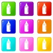 Baby bottle icons set 9 color collection isolated on white for any design