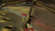 Inside A Grand Piano, Showing The Strings, Dampers, Hammers And Frame