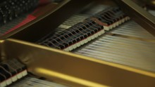 Inside A Grand Piano Showing Frame, Dampers, Strings And Hammers