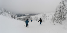 Tourists Skiing In Sun Peaks Resort, Sun Peaks, Kamloops, British Columbia, Canada