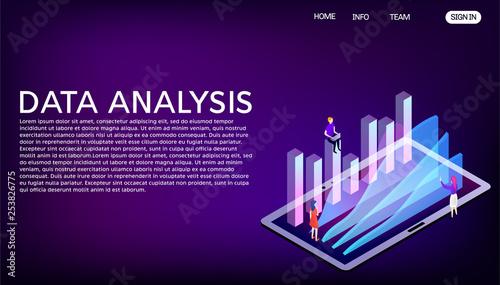 Data analysis vector isometric illustration  Website landing