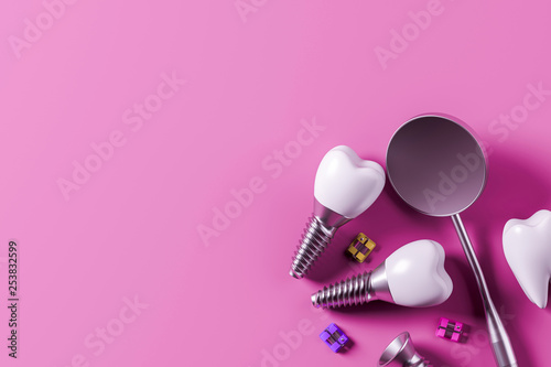 Fotografia, Obraz Implant screw teeth and mirror, pink background