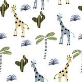 Wzór w stylu skandynawskim z żyrafą - 253832749