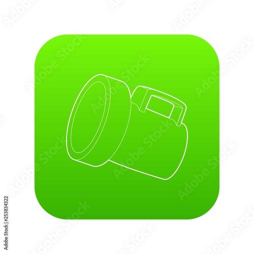 Photo  Lantern icon green vector isolated on white background