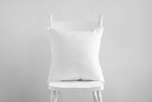 Mockup Of White Square Cushion...
