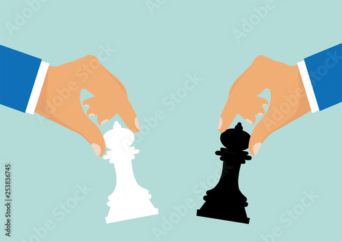 Obraz na plátně Vector of businessmen moving chess pieces as a symbol of rivalry corporate negotiation
