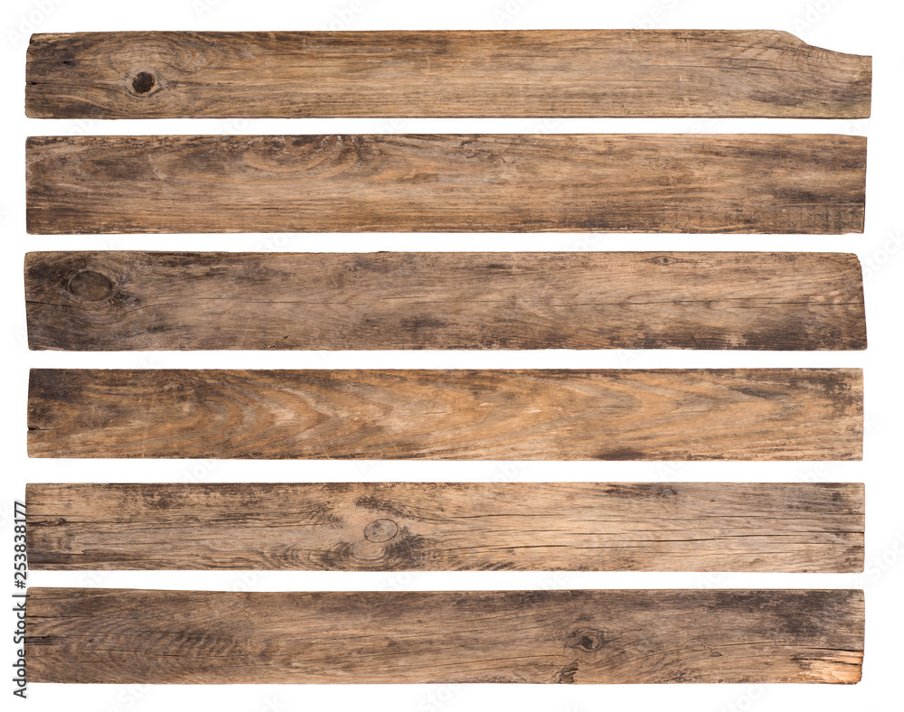 Fototapety, obrazy: Old wooden planks isolated on white background