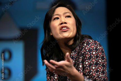 Priscilla Chan tells a story during an interview with Poppy