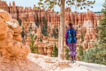 Hiker Woman In Bryce Canyon Hi...
