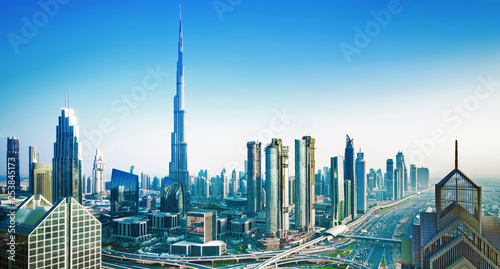 Photographie Amazing Dubai city center skyline at the sunset, Dubai, United Arab Emirates