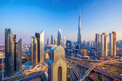 Amazing Dubai city center skyline at the sunset, Dubai, United Arab Emirates Tapéta, Fotótapéta