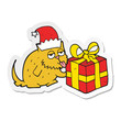 sticker of a cartoon cat with present