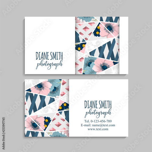 Business card with beautiful flowers Template - Buy this