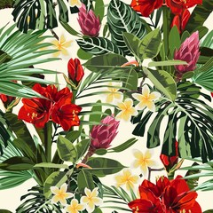 Fototapeta Malarstwo Tropical lilies, plumeria flowers seamless pattern with bright green leaves on light yellow background. Exotic tropical garden for wedding invitations, greeting card and fashion design.