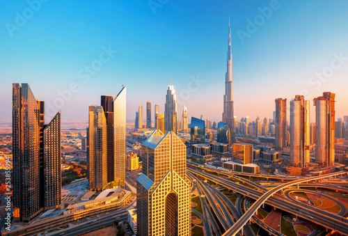 Wallpaper Mural Amazing Dubai city center skyline at the sunset, Dubai, United Arab Emirates