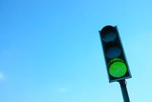 Green Traffic Light Against The Sky
