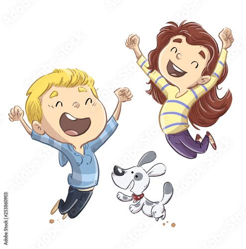 Vászonkép niños saltando con perro felices