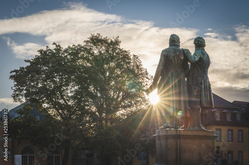 Foto auf Leinwand Historische denkmal Germany, Weimar, bach view of Goethe-Schiller Monument at sunrise