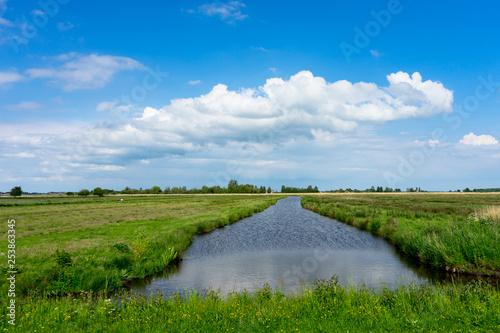 Netherlands, Zaanse Schans, a close up of a lush green field next to a canal Fototapeta