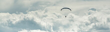 Horizontal Cropped Image Paraglider Over Cloudy Sky Background