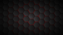 Abstract Background Of Black Hexagon Tiles With Red Gaps Between Them