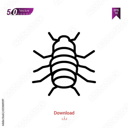 Foto  Outline flea icon isolated on white background
