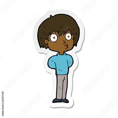 Fotografering sticker of a cartoon impressed boy