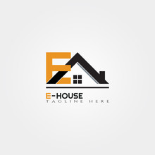 House Icon Template With E Letter, Home Creative Vector Logo Design, Architecture,building And Construction, Illustration Element