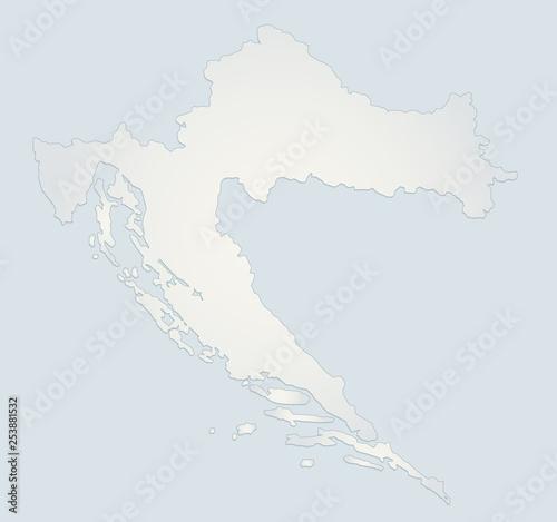 Croatia map blue white paper 3D blank – kaufen Sie diese ...