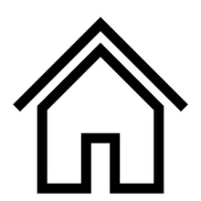 Home Symbol Icon - Black Simple Outline, Isolated - Vector