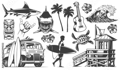 Vintage surfing elements monochrome collection Wallpaper Mural