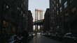 Slow motion of the really famous instagram Dumbo spot in Brooklyn during sunrise.