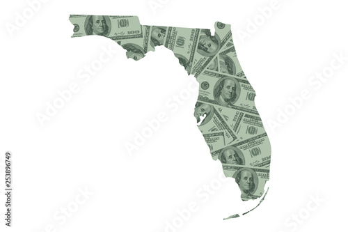 Florida State Map and Money, Hundred Dollar Bills Canvas Print