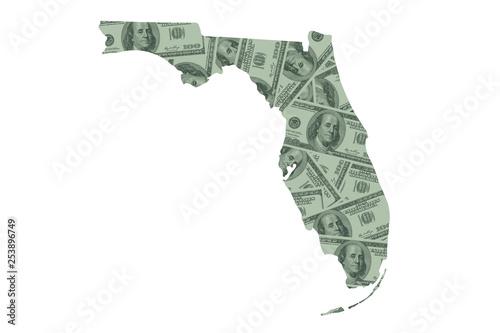 Florida State Map and Money, Hundred Dollar Bills Wallpaper Mural