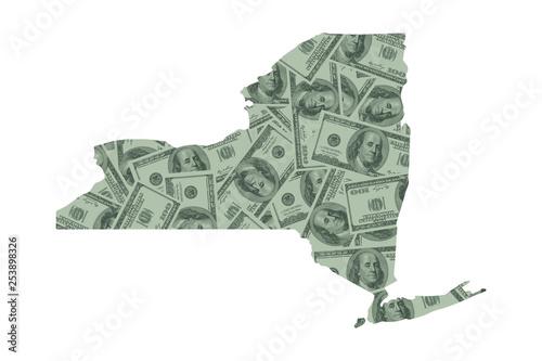 New York State Map and Money, Hundred Dollar Bills Wallpaper Mural