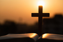 Silhouette Of The Wooden Cross...