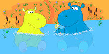 Two Hippos In A Pond Cartoon Vector Illustration