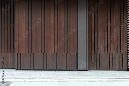 street wall background ,Industrial background, empty grunge urban street with warehouse brick wall - 253913769