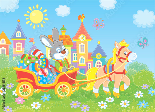 Printed kitchen splashbacks Castle Little grey rabbit carrying colorfully decorated Easter eggs in a cart with a small pony against the background of small town houses, vector illustration in cartoon style