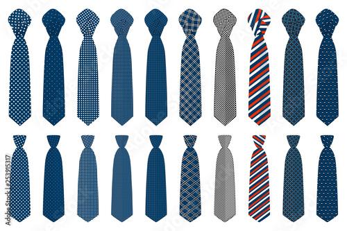 Fototapeta Illustration on theme big set ties different types, neckties various size obraz