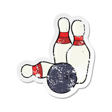 Retro Distressed Sticker Of A Ten Pin Bowling Cartoon