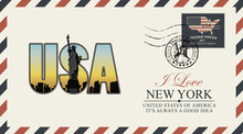 Vector Postcard Or Envelope With Letters USA With New York Skyline, Statue Of Liberty And Inscriptions. Postcard With Postmark With Liberty Head And Postage Stamp With American Flag And Map.