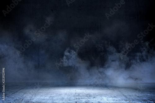 Fotografie, Obraz  Room with concrete floor and smoke